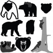 Vector de stock : Bears silhouette collection - vector