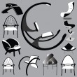 Chair Set black and white — Stock Vector #6175004