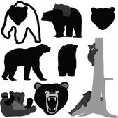 Bears silhouette collection - vector — Vector de stock