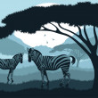 Animated zebra couple in wild nature landscape illustration — Stock Vector