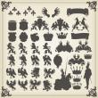Heraldic silhouettes set of many vintage elements vector background - Stok Vektör