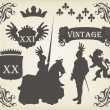 Royalty-Free Stock Imagem Vetorial: Medieval knight horseman and vintage elements vector background illustratio