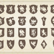 Royalty-Free Stock Vector Image: Heraldic silhouettes set of many vintage elements vector background