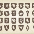 Heraldic silhouettes set of many vintage elements vector background — Stock Vector #6744077