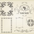 Vintage set of calligraphic elements, frames and borders — Imagen vectorial