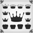 Heraldic silhouettes set of many vintage elements vector background — Stock Vector #6744090