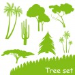 Green ecology tree vector set — Stock Vector