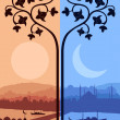 Royalty-Free Stock Vector Image: Vintage turkish city Istanbul landscape illustration