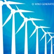 Wind power alternative green energy vector with transparent blue background — Stock Vector