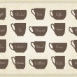Vintage tea and coffee cups illustration collection — Stock Vector