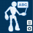 Royalty-Free Stock Vector Image: Animated construction site architect assistant robot blueprint plan