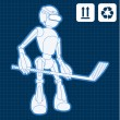 Royalty-Free Stock Vector Image: Animated robot hockey player blueprint plan illustration