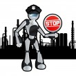 Animated police officer robot blueprint plan illustration — Stock Vector