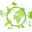 Green and clean ecology earth globe concept vector background — Stock Vector