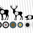 Animated shooting range hunting targets set illustration — Stock Vector