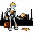 Royalty-Free Stock Vector Image: Animated construction site painter robot illustration