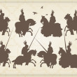 Medieval knight horseman and vintage elements vector background illustratio — Stock vektor