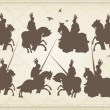 Medieval knight horseman and vintage elements vector background illustratio — Image vectorielle