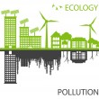 Stock Vector: Green Eco city ecology vector background concept around globe