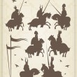 Medieval knight horseman and vintage elements vector background illustratio — Stok Vektör
