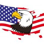 Patriotic American bald eagle — Stock Vector