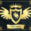 Royalty-Free Stock Vector Image: Coat of arms vintage vector background with animals and wings
