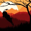 Animated running gazelle in wild africa mountain landscape illustration - Stock Vector