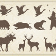 Vintage set of animals into frame - Stock Vector