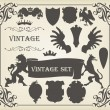 Heraldic silhouettes set of many vintage elements vector — Stock Vector #6745014