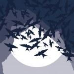 Flying swallow swarm vector background — Stock Vector