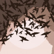 Flying swallow swarm vector background — Stock Vector #6745078