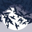 Flying swallow swarm vector background — Stock Vector