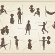 Primitive figures looks like cave painting - primitive art - vector - Stock Vector