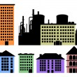 Set of houses and factory vector background — Stock Vector