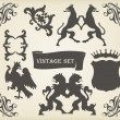 Heraldic silhouettes set of many vintage elements vector background — Stock Vector #6745446