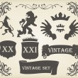 Heraldic silhouettes set of many vintage elements vector background — Stock Vector #6745449