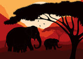 Cute animated elephant family in wild africa landscape — Stock Vector