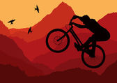 Mountain bike rider in wild nature landscape — Stock Vector