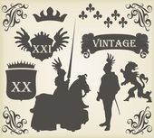 Medieval knight horseman and vintage elements vector background illustratio — Stock Vector