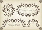 Vintage frames et illustration des éléments — Vecteur