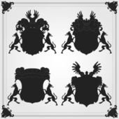 Illustrated vintage lion coat of arms collection — Stock Vector