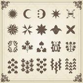 Vintage ensemble d'éléments calligraphiques, cadres et bordures — Vecteur