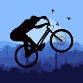 Horské kolo jezdec v divoké přírodě krajiny — Stock vektor