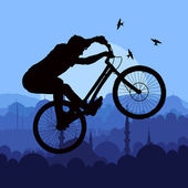 Mountain bike rider in wild nature landscape — Stock Vector