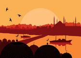 Vintage turkish city Istanbul landscape illustration — Stock Vector