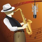 Saxophone player vector — Stock Vector