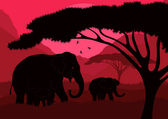 Cute elephant family in wild africa landscape illustration — Stock Vector