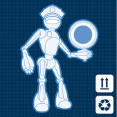 Animated police officer robot blueprint plan illustration — Stock Vector