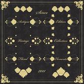 Floral frame ed elementi illustrazione collezione vintage — Vettoriale Stock