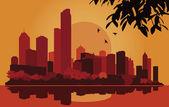 Skyscraper industrial city landscape illustration — Stock Vector